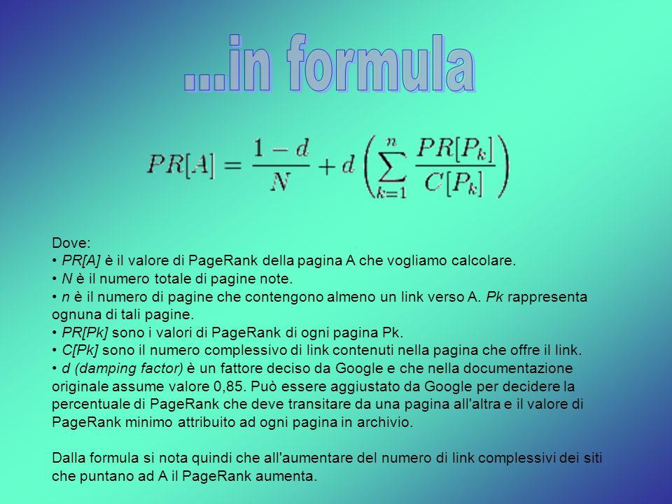 ...in formula Dove: PR[A] è il valore di PageRank della pagina A che vogliamo calcolare. N è il numero totale di pagine note.